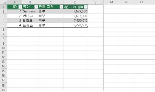 Excel 통합 문서에서 창 나누기
