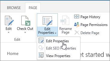 페이지 탭에서 속성 편집을 강조 표시 된 리본 메뉴를 연