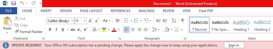 """""""업데이트 필요: Office 365 구독에 보류 중인 변경 내용이 있습니다. 응용 프로그램을 계속 사용하려면 지금 변경 내용을 적용하세요.""""가 표시된 Office 응용 프로그램의 빨간색 배너"""
