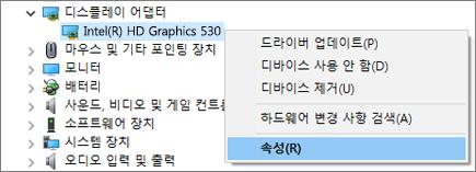 Windows 장치 관리자로 이동하여 디스플레이 어댑터 드라이버를 관리합니다.