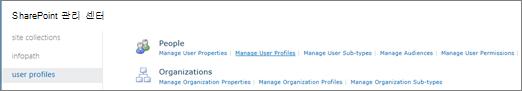 사용자 프로필 페이지에서 사용자 프로필 관리 링크
