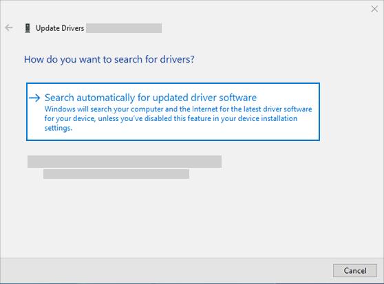 업데이트 된 드라이버 소프트웨어를 자동으로 검색 하 여 오디오 드라이버 업데이트