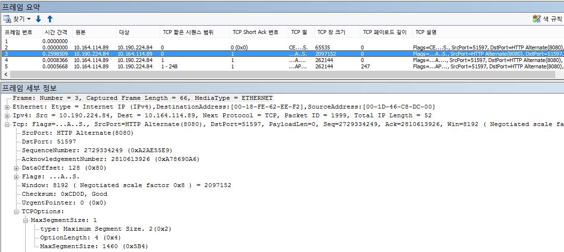 Netmon에서 기본 제공 열을 사용하여 필터링된 네트워크 추적