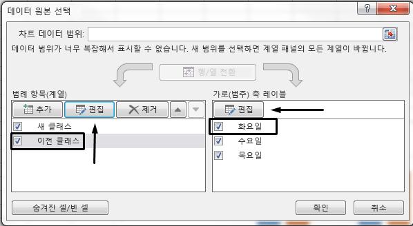 데이터 원본 선택 상자에서 범례 이름을 편집할 수 있습니다.
