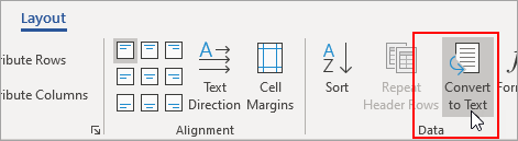 표 도구 레이아웃 탭에서 텍스트로 변환 옵션이 강조 표시됨