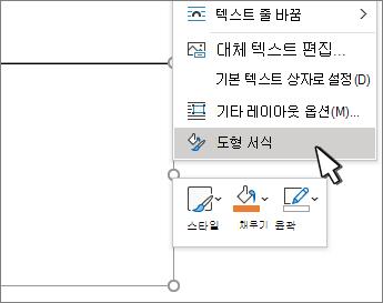 선택한 도형 서식 메뉴 항목