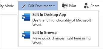 Word Online에서 편집 하려면 브라우저에서 편집을 선택 합니다.