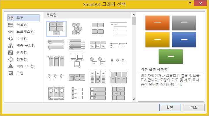 SmartArt 그래픽 선택 대화 상자의 선택 항목