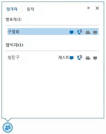 메신저 대화, 오디오, 비디오 및 공유 기능의 가용성을 나타내는 참가자 이름 옆에 있는 아이콘의 스크린샷