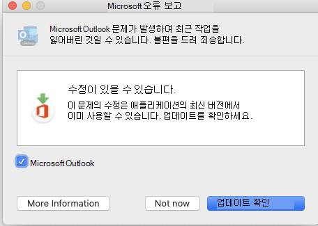 Microsoft 오류 보고 창