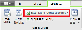 Excel 테이블을 나타내는 연결된 테이블 리본 메뉴