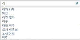 사용자가 입력 중인 단어와 비슷한 단어가 표시되는 검색 상자