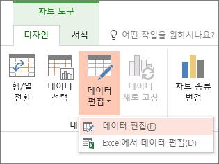 선택한 데이터를 편집 된 차트 도구