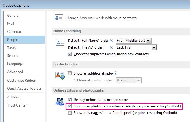 사진 사용 확인란이 강조 표시된 Outlook 옵션 창 스크린샷