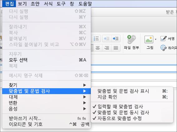 편집에서 옵션 > 맞춤법 및 문법 검사 메뉴