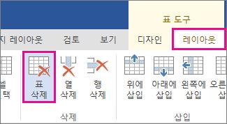리본 메뉴 도구 모음의 레이아웃 탭에서 사용할 수 있는 디자인 단추 이미지