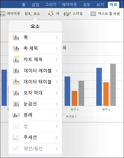 문서에서 차트 요소를 사용자 지정 리본 메뉴의 차트 탭의 요소를 클릭 합니다.