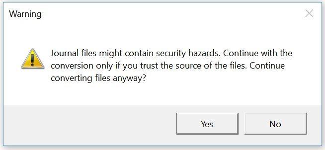 the screenshot of the warning
