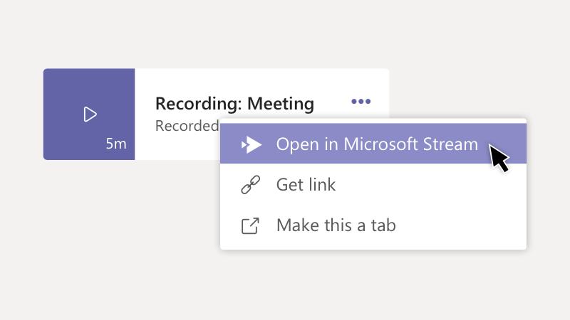 Microsoft Stream에서 녹음/녹화 열기 옵션