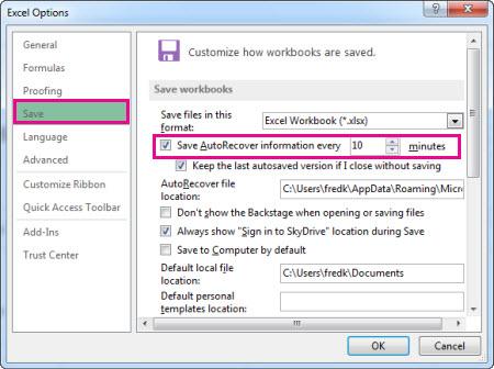 Excel 옵션의 저장 옵션