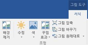 Office 2016 리본의 그림 도구 서식 탭에 표시된 배경 제거 단추