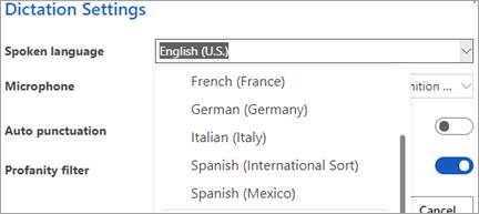 받아쓰기에 사용할 수 있는 언어