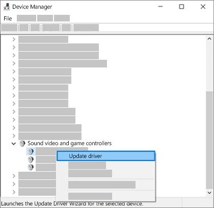 장치 목록을 마우스 오른쪽 단추로 클릭 하 고 드라이버 업데이트를 선택 합니다.