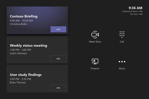 세 개의 모임 (예: Contoso 브리핑, 주간 상태 모임, 고객 사용자 연구 보고서)이 있는 회의실 콘솔