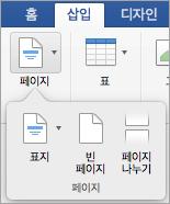 페이지 메뉴의 옵션