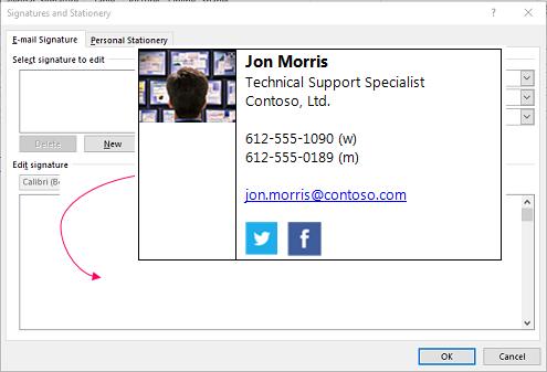 전자 메일 서명 텍스트 상자를 서명 및 편지지 대화 상자에서 사용자 지정 서명 블록을 붙여 넣습니다.