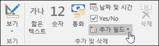 필드 리본 탭에 있는 추가 및 삭제 그룹의 스크린샷.