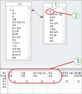 업데이트할 수 있는 필드를 보여 주는 쿼리 다이어그램
