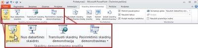"""Skirtukas Skaidrių demonstravimas programoje """"PowerPoint 2010"""", peržiūrint grupę Pradėti skaidrių demonstravimą."""