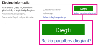 """Dalyje Diegimo informacija pasirinkite """"Office for Windows"""" arba """"Office for Mac"""", tada spustelėkite Diegti."""