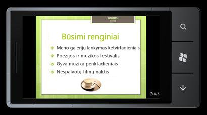 """PowerPoint Mobile 2010 for Windows Phone 7"": redagavimas ir peržiūra telefone"