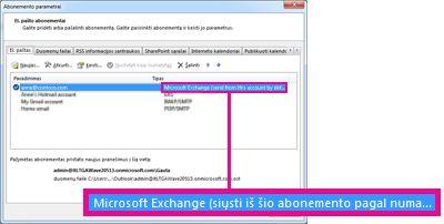 """Microsoft Exchange"" abonementas, nurodytas dialogo lange Abonemento parametrai"