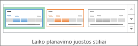 Laiko planavimo juostos stiliai laiko planavimo juostos įrankių skirtuke Parinktys