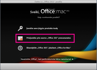 """Office for Mac"" pagrindinis diegimo puslapis"