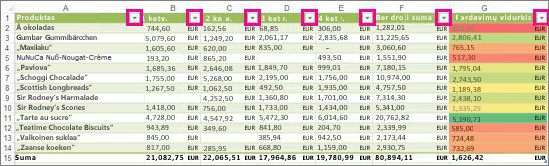 """Įtaisytuosius filtrus rodanti programos """"Excel"""" lentelė"""
