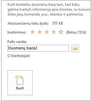 darbalaukio duomenų bazės kūrimas naudojant šabloną