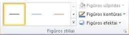 """Skirtuko Formatavimas grupė Figūros stiliai, esanti dalyje """"SmartArt"""" įrankiai"""