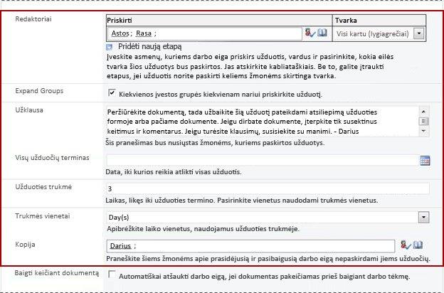 Antras sąsajos formos su nurodytais inicijavimo formos laukais puslapis