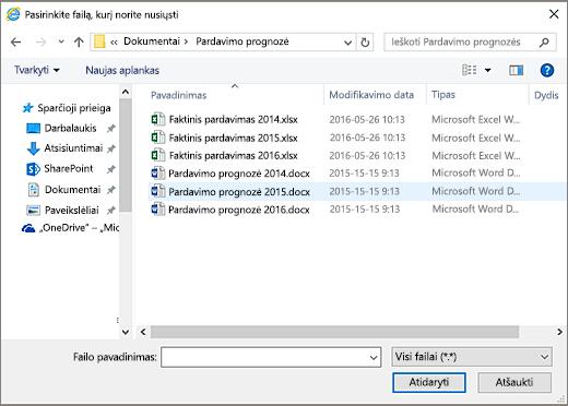 SharePoint pasirinkite failą ir nusiųsti dialogo langas.