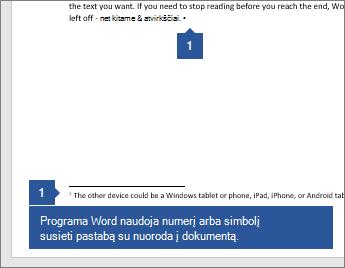 """""""Word"""" naudoja skaičių arba simbolį, susiejantį pastabą su dokumento atskaitos tašku."""