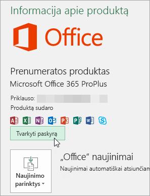 """Ekrano kopija, rodanti, kaip pasirenkama parinktis Valdyti paskyrą puslapyje Paskyra, esančiame """"Office"""" kompiuterio programoje"""