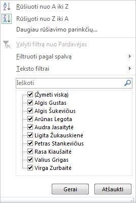 """""""PivotChart"""" filtravimo ir rūšiavimo parinktys"""