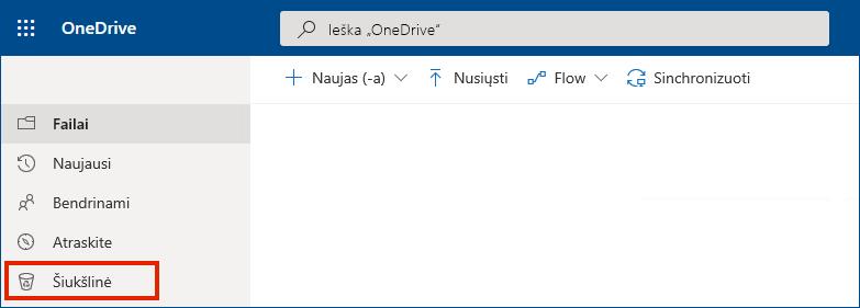 """""""OneDrive"""" verslui internete šiukšliadėžė pateikta kairiajame meniu"""