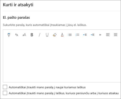 """El. pašto parašo kūrimas internetinėje """"Outlook"""""""