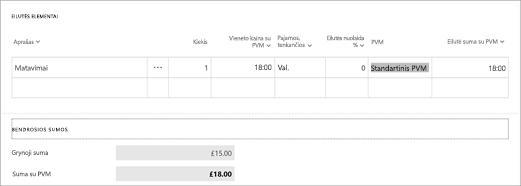 Ekrano: Microsoft sąskaitų PVM apskaičiavimas