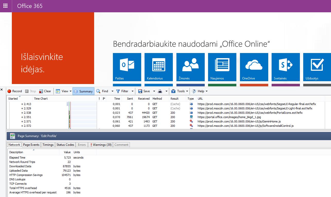 """HTTPŽiūrėkite, kaip rodomas skirtukas Tinklas įkeliant """"Office 365"""" pagrindinį puslapį."""